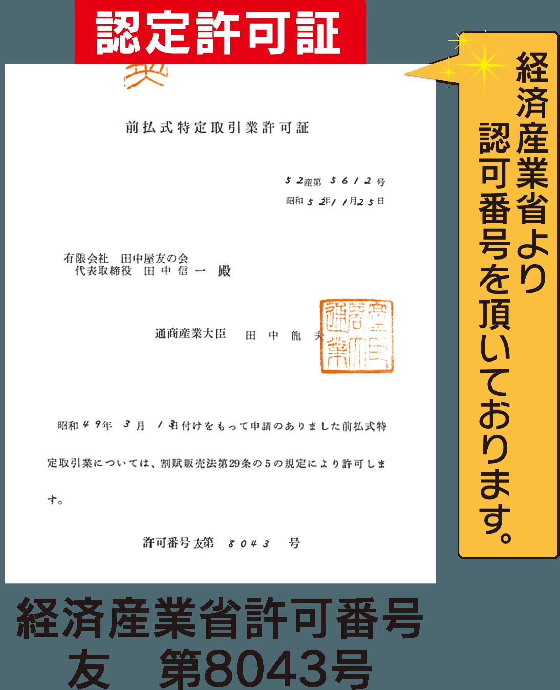 認定許可証の写真